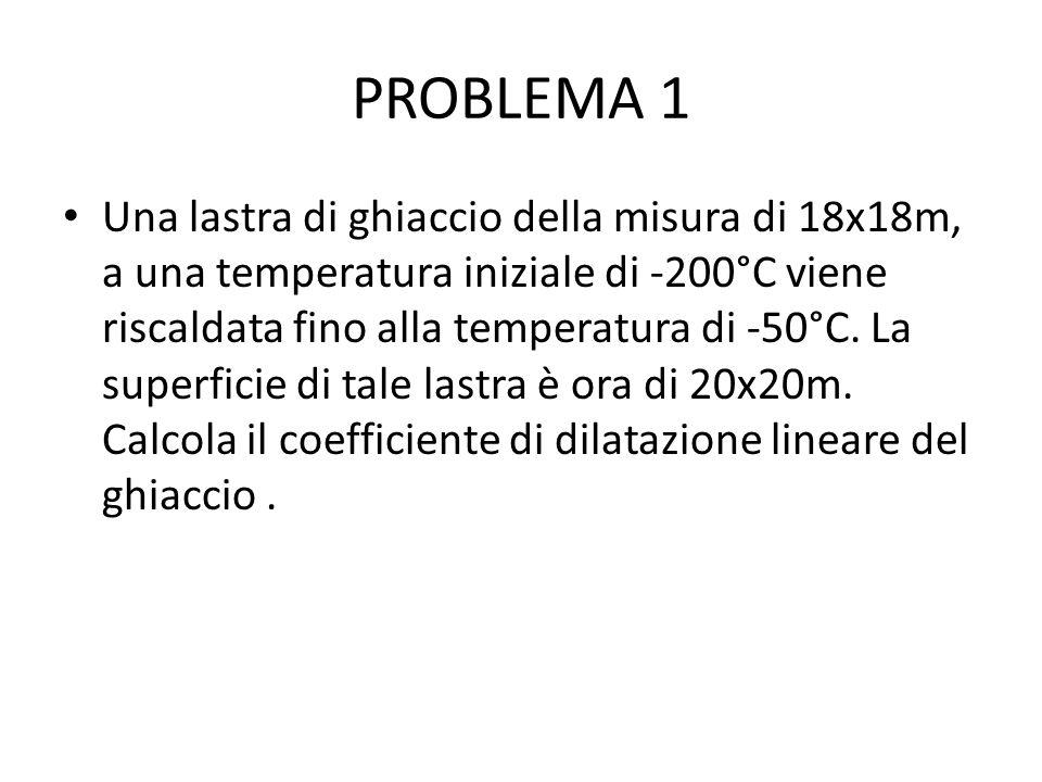 PROBLEMA 1 Una lastra di ghiaccio della misura di 18x18m, a una temperatura iniziale di -200°C viene riscaldata fino alla temperatura di -50°C.