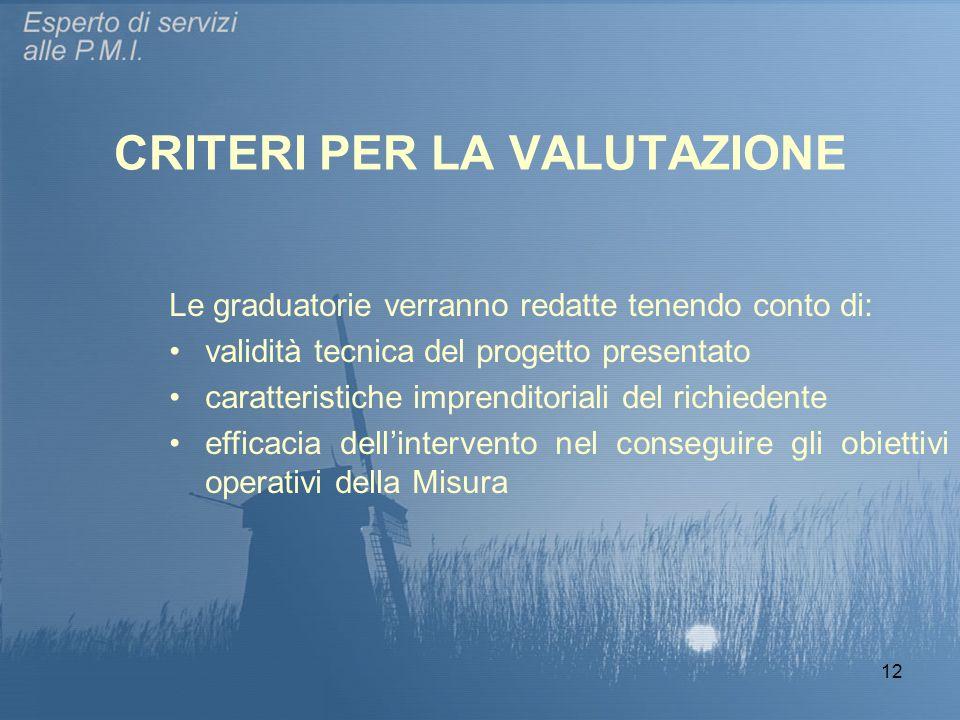 12 CRITERI PER LA VALUTAZIONE Le graduatorie verranno redatte tenendo conto di: validità tecnica del progetto presentato caratteristiche imprenditoria