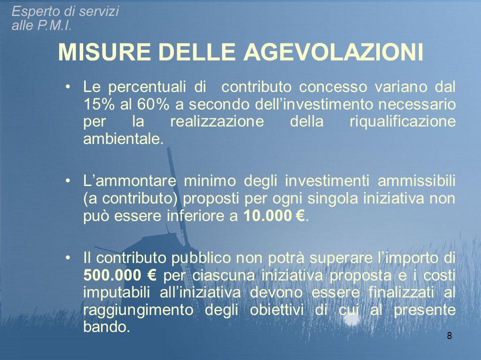 8 MISURE DELLE AGEVOLAZIONI Le percentuali di contributo concesso variano dal 15% al 60% a secondo dell'investimento necessario per la realizzazione d