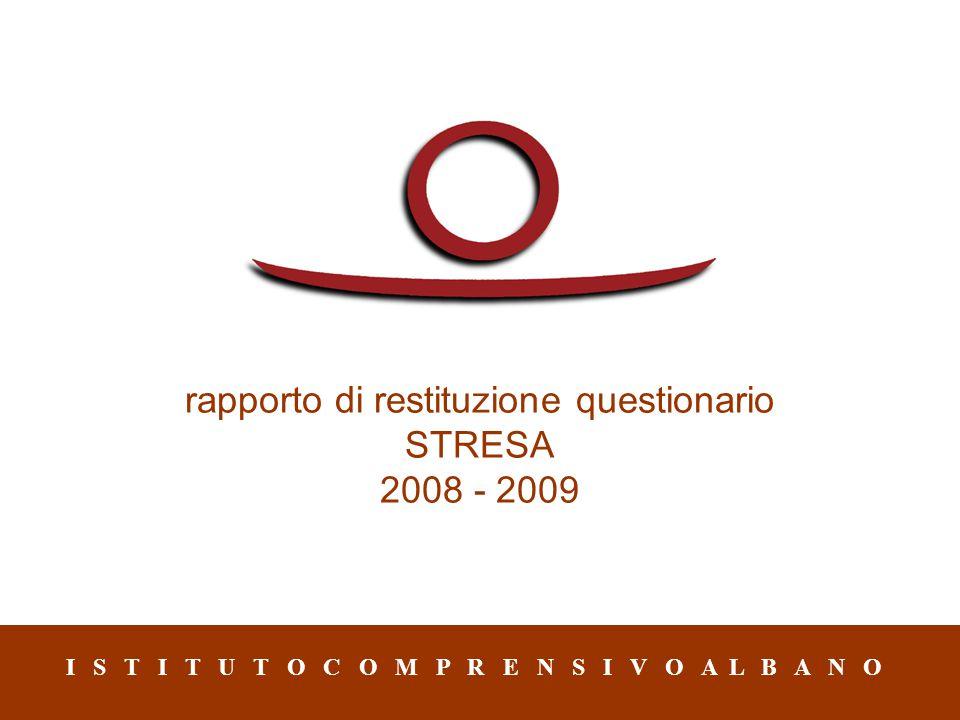 rapporto di restituzione questionario STRESA 2008 - 2009 I S T I T U T O C O M P R E N S I V O A L B A N O