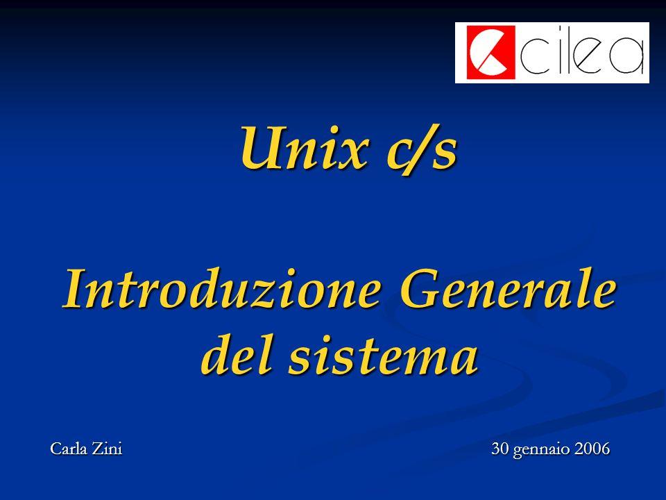 Unix c/s Introduzione Generale del sistema Unix c/s Introduzione Generale del sistema Carla Zini30 gennaio 2006