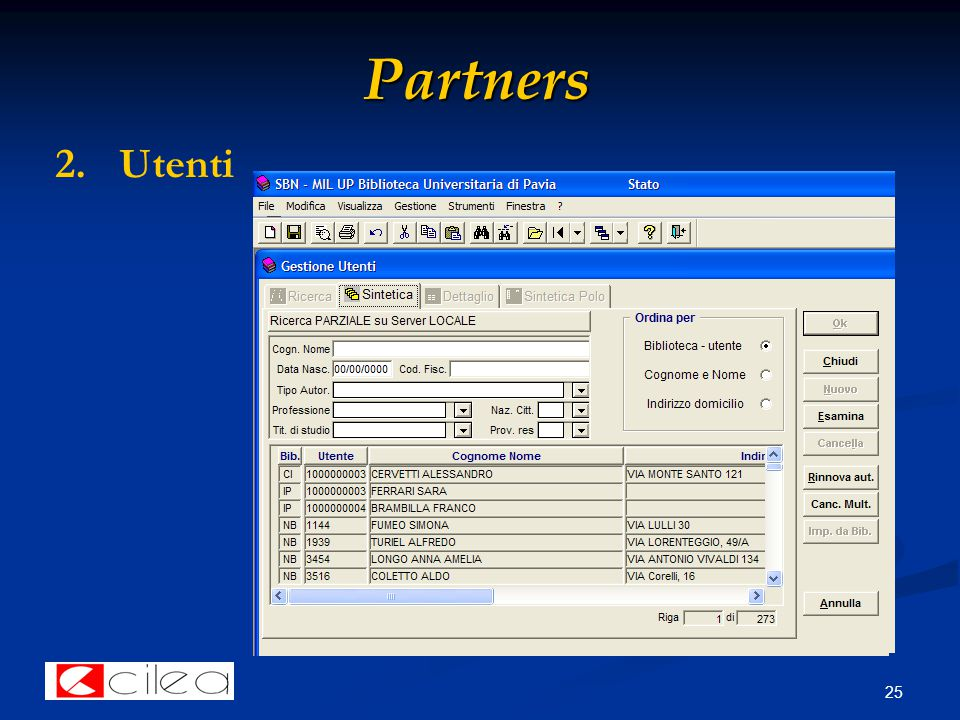 25 Partners 2. 2.Utenti
