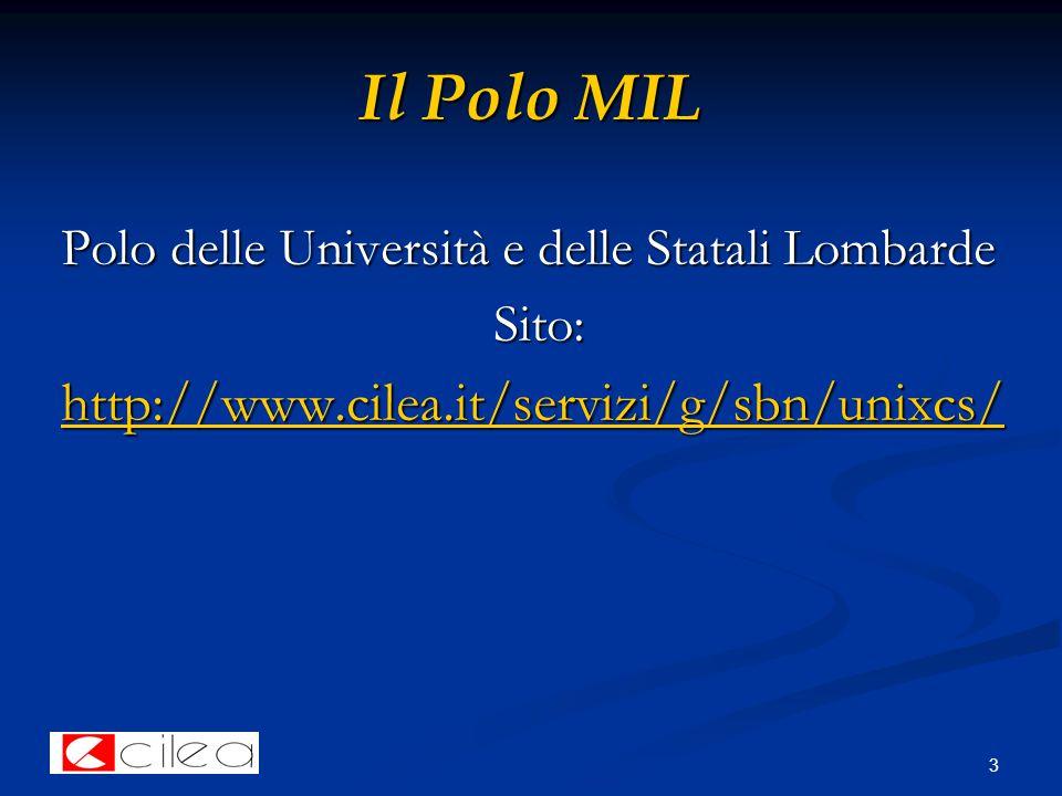 3 Il Polo MIL Polo delle Università e delle Statali Lombarde Sito: http://www.cilea.it/servizi/g/sbn/unixcs/