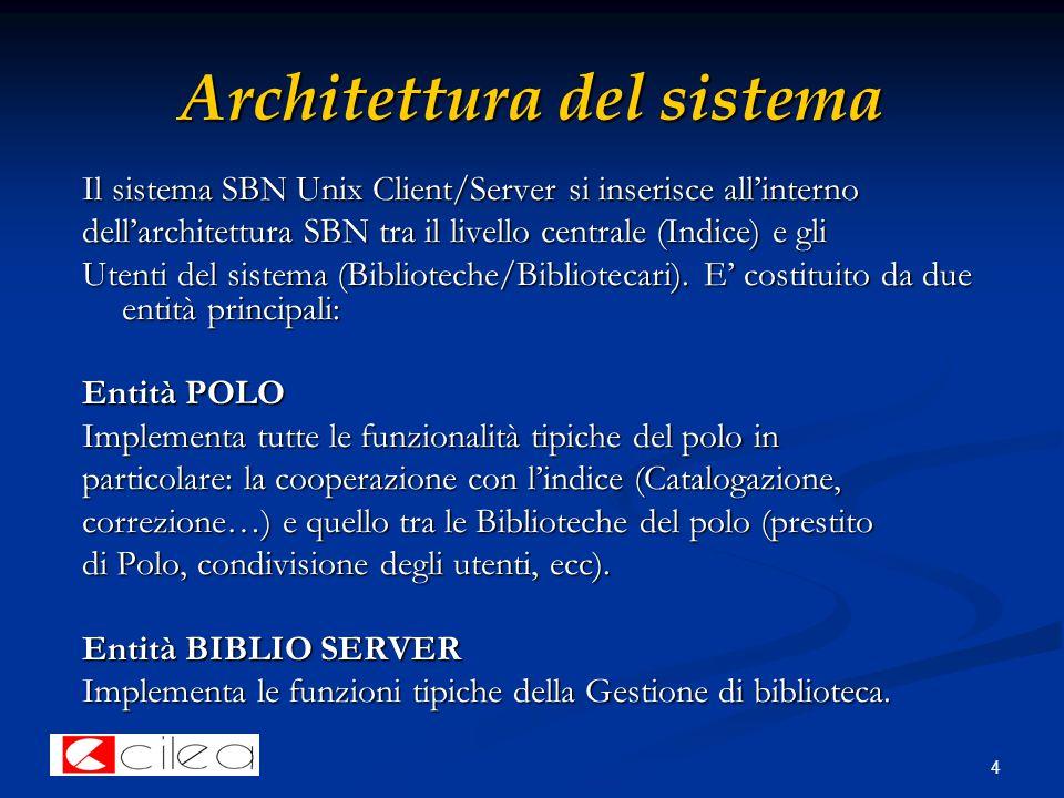4 Architettura del sistema Il sistema SBN Unix Client/Server si inserisce all'interno dell'architettura SBN tra il livello centrale (Indice) e gli Utenti del sistema (Biblioteche/Bibliotecari).