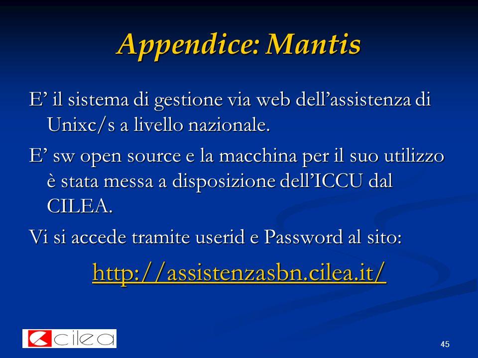 45 Appendice: Mantis E' il sistema di gestione via web dell'assistenza di Unixc/s a livello nazionale.