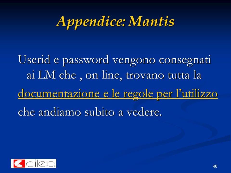 46 Appendice: Mantis Userid e password vengono consegnati ai LM che, on line, trovano tutta la documentazione e le regole per l'utilizzo documentazione e le regole per l'utilizzo che andiamo subito a vedere.