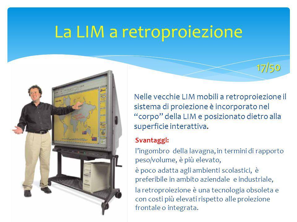 """La LIM a retroproiezione Nelle vecchie LIM mobili a retroproiezione il sistema di proiezione è incorporato nel """"corpo"""" della LIM e posizionato dietro"""