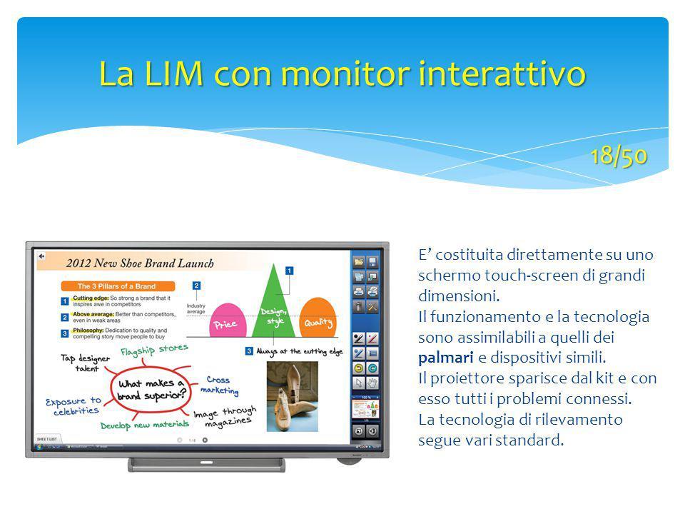 La LIM con monitor interattivo E' costituita direttamente su uno schermo touch-screen di grandi dimensioni. Il funzionamento e la tecnologia sono assi