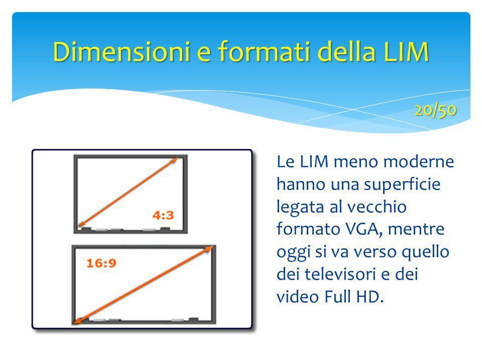 Dimensioni e formati della LIM Le LIM meno moderne hanno una superficie legata al vecchio formato VGA, mentre oggi si va verso quello dei televisori e