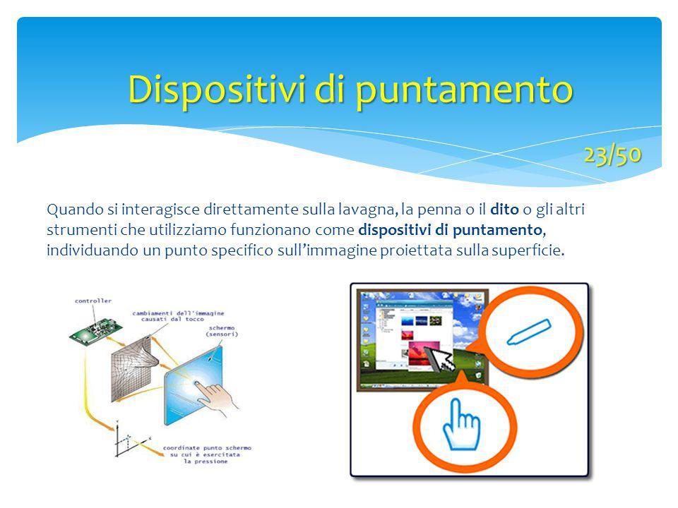 Quando si interagisce direttamente sulla lavagna, la penna o il dito o gli altri strumenti che utilizziamo funzionano come dispositivi di puntamento,