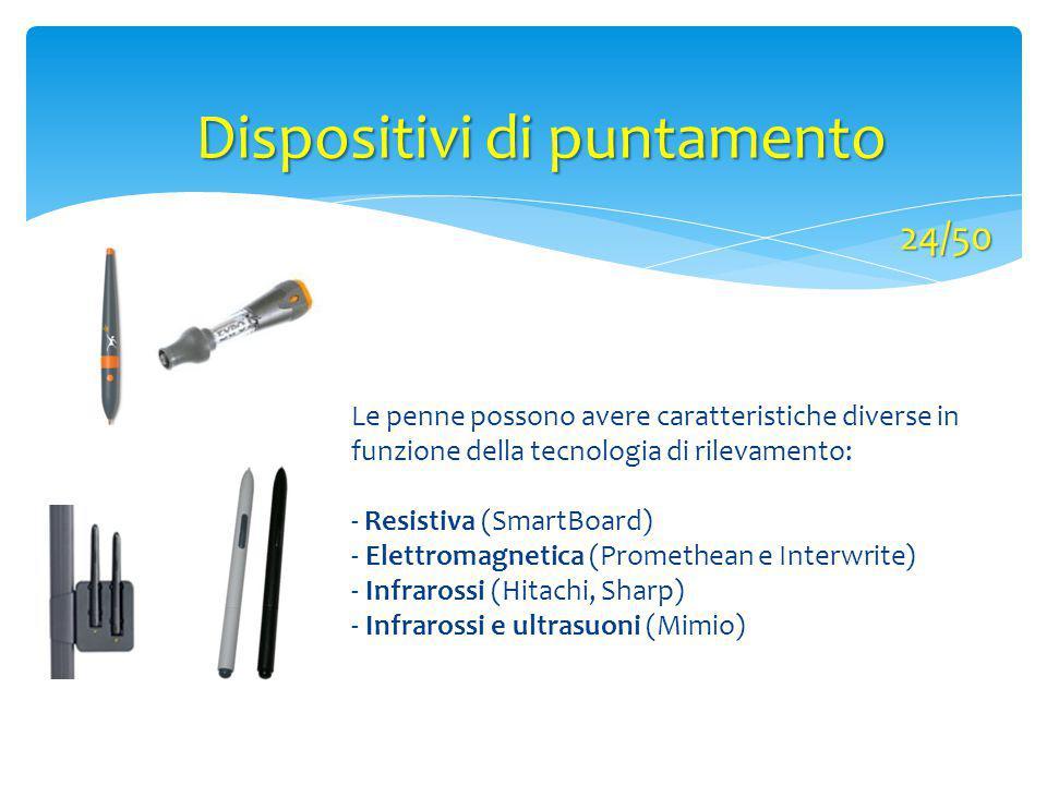 Le penne possono avere caratteristiche diverse in funzione della tecnologia di rilevamento: - Resistiva (SmartBoard) - Elettromagnetica (Promethean e