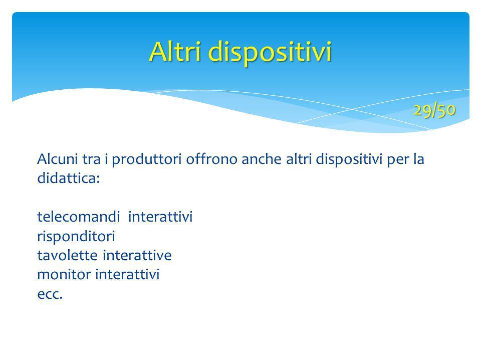Altri dispositivi 29/50 Alcuni tra i produttori offrono anche altri dispositivi per la didattica: telecomandi interattivi risponditori tavolette inter