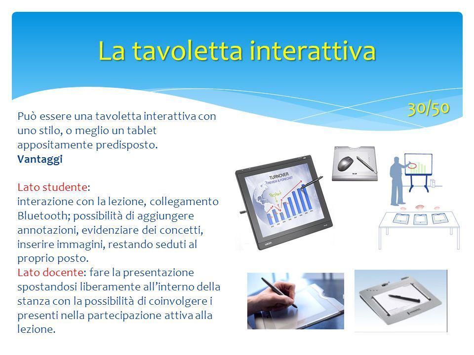 La tavoletta interattiva 30/50 Può essere una tavoletta interattiva con uno stilo, o meglio un tablet appositamente predisposto. Vantaggi Lato student