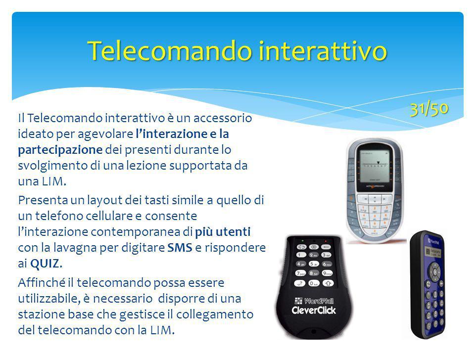 Telecomando interattivo 31/50 Il Telecomando interattivo è un accessorio ideato per agevolare l'interazione e la partecipazione dei presenti durante l