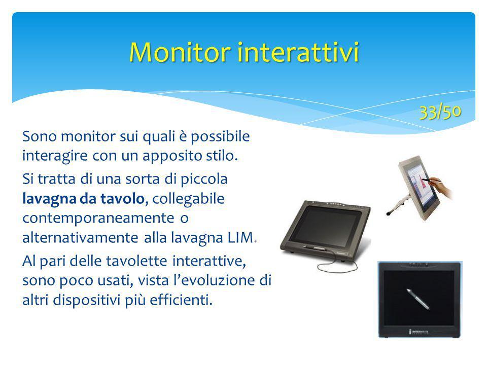 Monitor interattivi 33/50 Sono monitor sui quali è possibile interagire con un apposito stilo. Si tratta di una sorta di piccola lavagna da tavolo, co
