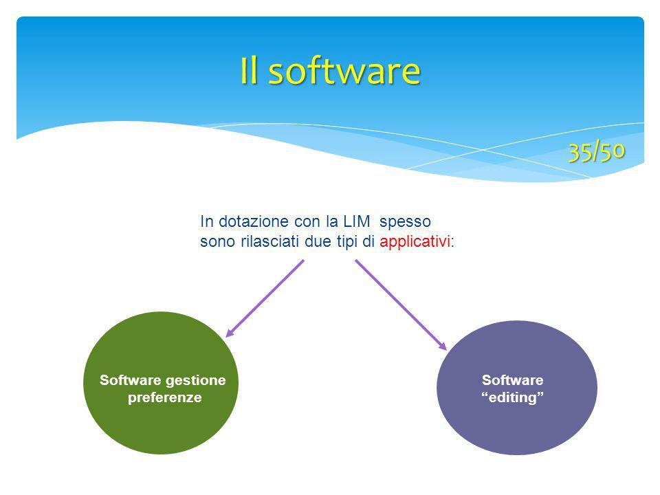 """In dotazione con la LIM spesso sono rilasciati due tipi di applicativi: Software """"editing"""" Software gestione preferenze Il software 35/50"""