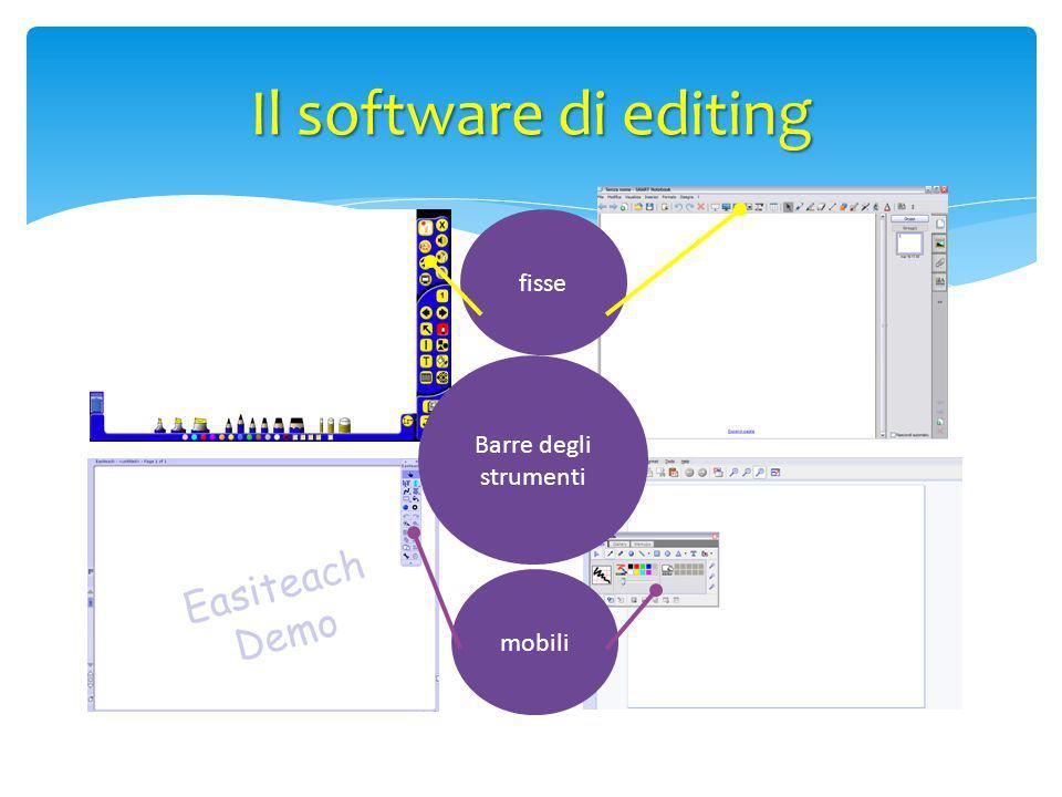 Barre degli strumenti fisse mobili Il software di editing