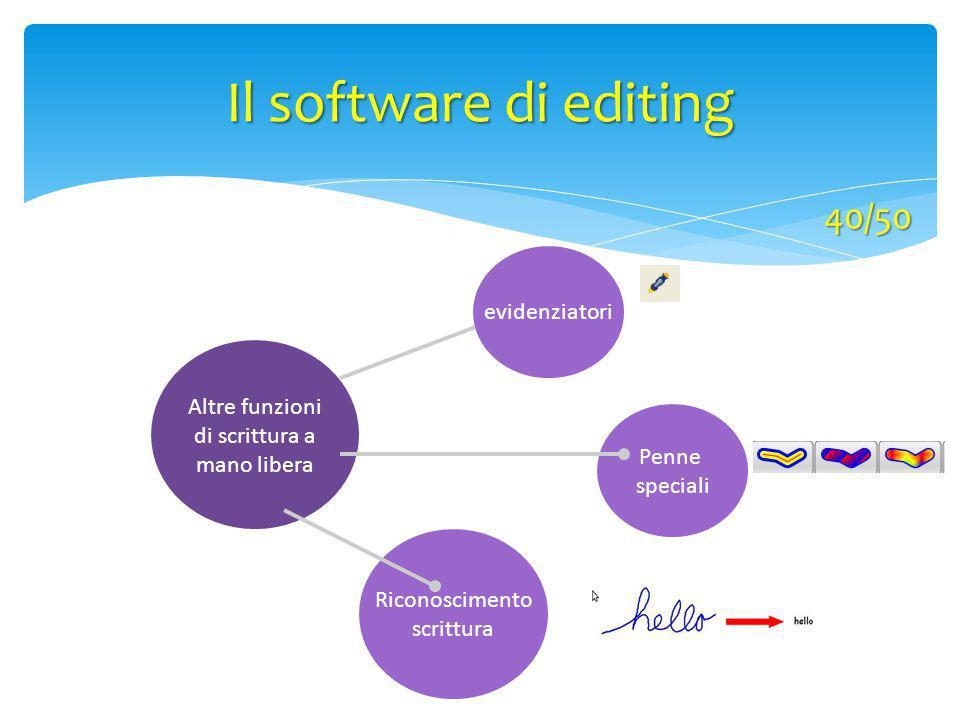Altre funzioni di scrittura a mano libera Riconoscimento scrittura evidenziatori Penne speciali Il software di editing 40/50