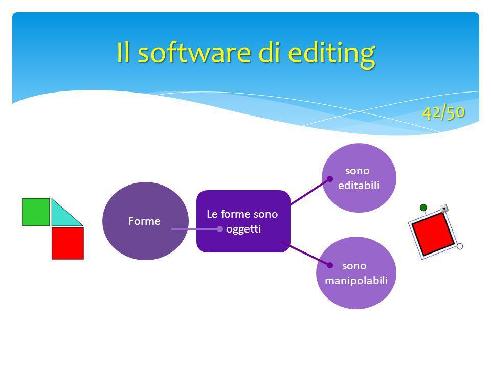 Forme sono editabili Le forme sono oggetti sono manipolabili Il software di editing 42/50