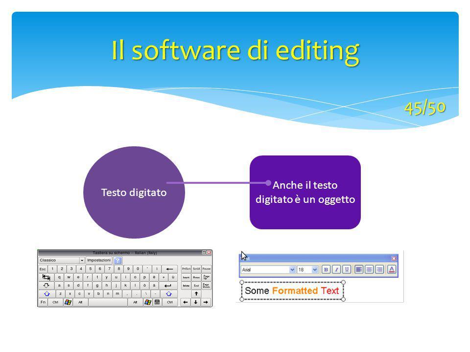 Testo digitato Anche il testo digitato è un oggetto Il software di editing 45/50
