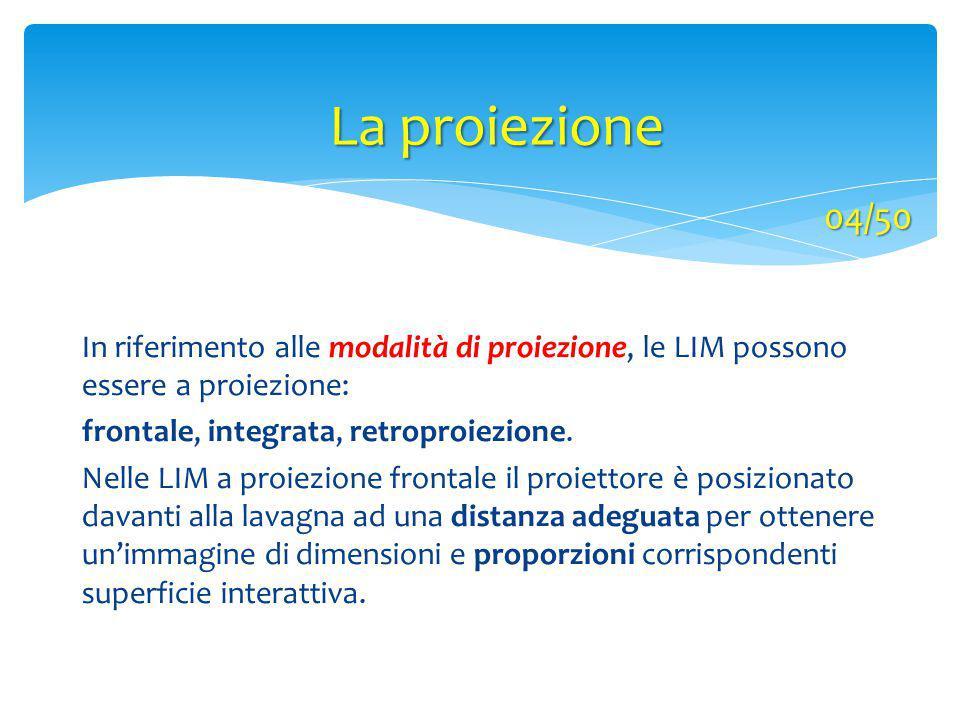 La proiezione In riferimento alle modalità di proiezione, le LIM possono essere a proiezione: frontale, integrata, retroproiezione. Nelle LIM a proiez