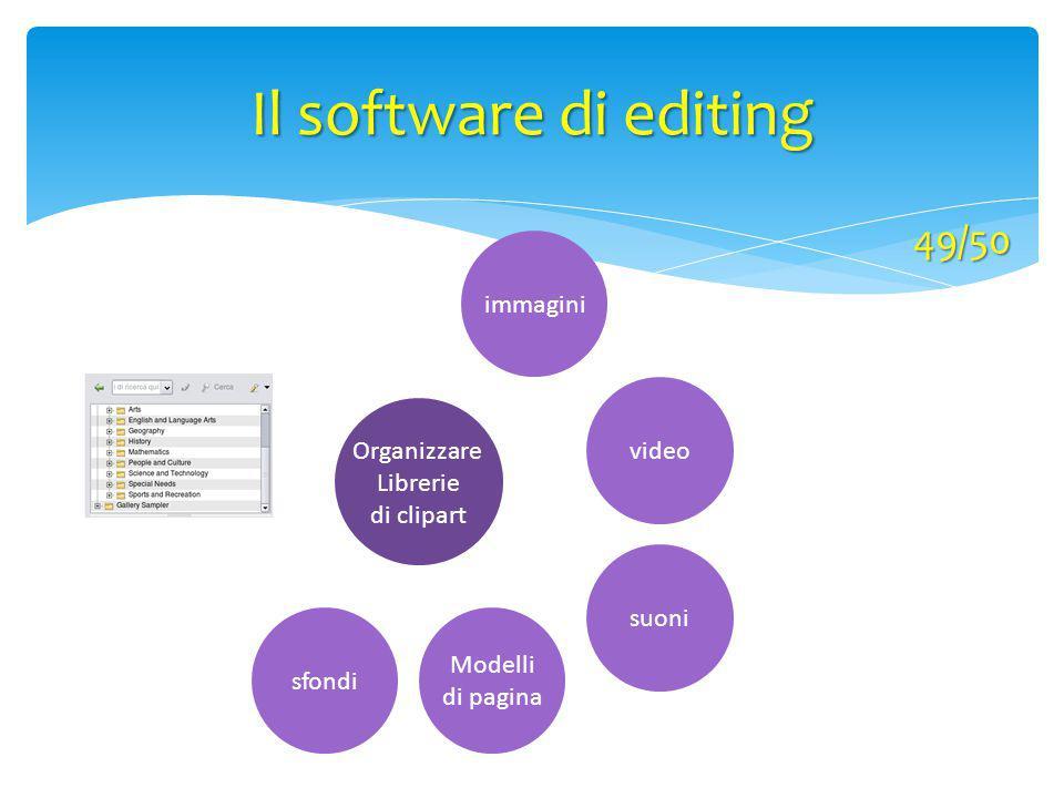 Organizzare Librerie di clipart Modelli di pagina immagini sfondi video suoni Il software di editing 49/50