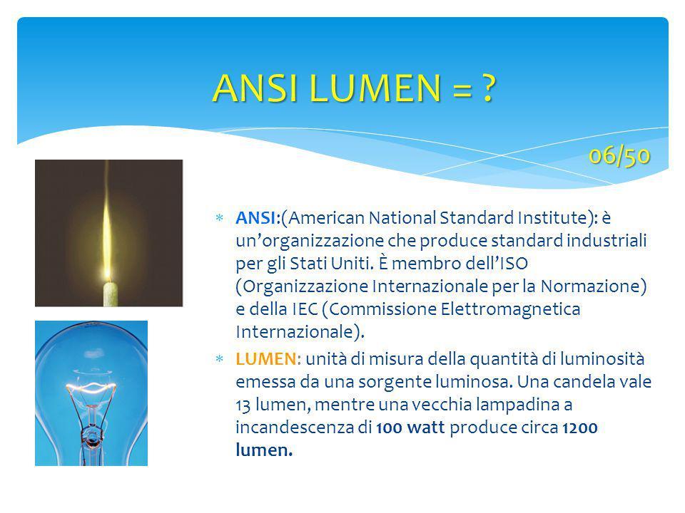 ANSI LUMEN = ?  ANSI:(American National Standard Institute): è un'organizzazione che produce standard industriali per gli Stati Uniti. È membro dell'