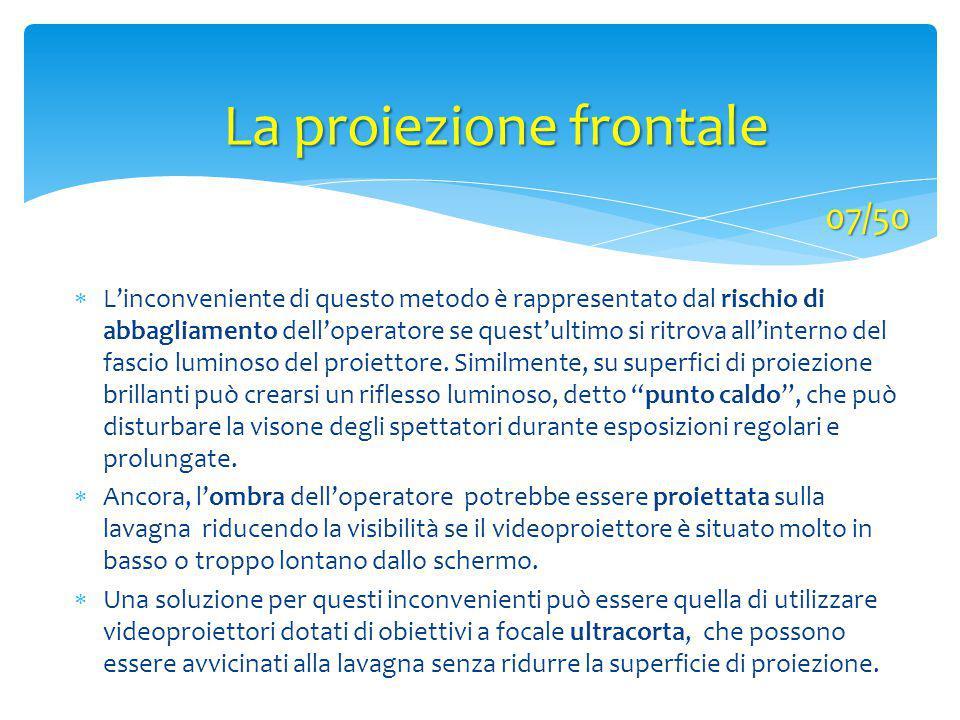 La proiezione frontale  L'inconveniente di questo metodo è rappresentato dal rischio di abbagliamento dell'operatore se quest'ultimo si ritrova all'i