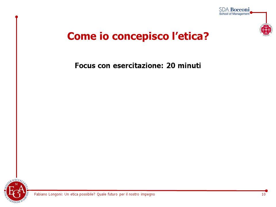 Fabiano Longoni: Un etica possibile? Quale futuro per il nostro impegno10 Come io concepisco l'etica? Focus con esercitazione: 20 minuti