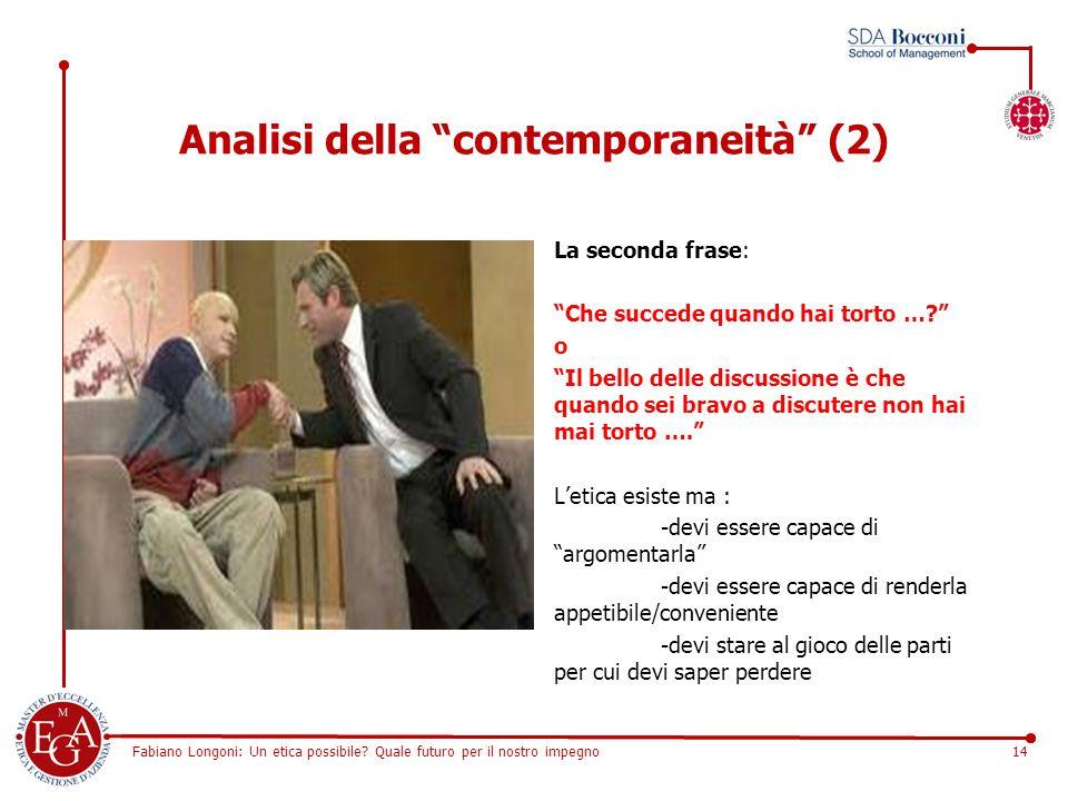 """Fabiano Longoni: Un etica possibile? Quale futuro per il nostro impegno14 Analisi della """"contemporaneità"""" (2) La seconda frase: """"Che succede quando ha"""