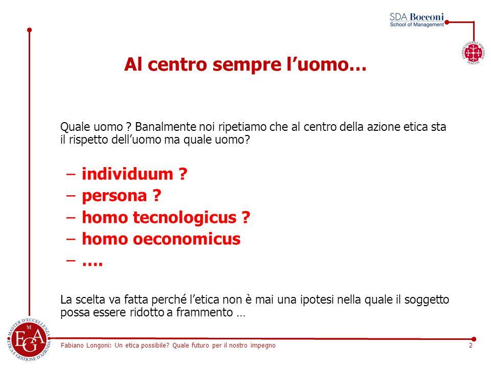 Fabiano Longoni: Un etica possibile? Quale futuro per il nostro impegno2 Al centro sempre l'uomo… Quale uomo ? Banalmente noi ripetiamo che al centro