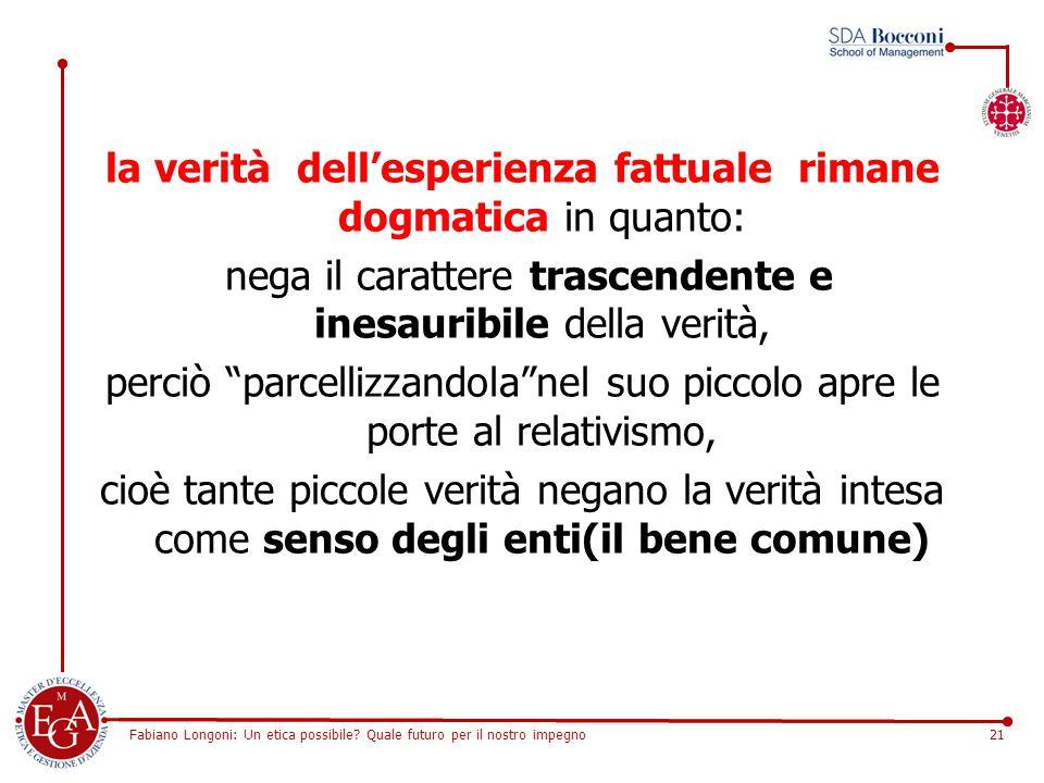 Fabiano Longoni: Un etica possibile? Quale futuro per il nostro impegno21 la verità dell'esperienza fattuale rimane dogmatica in quanto: nega il carat