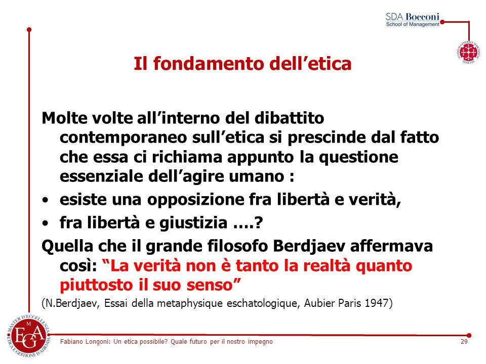 Fabiano Longoni: Un etica possibile? Quale futuro per il nostro impegno29 Il fondamento dell'etica Molte volte all'interno del dibattito contemporaneo