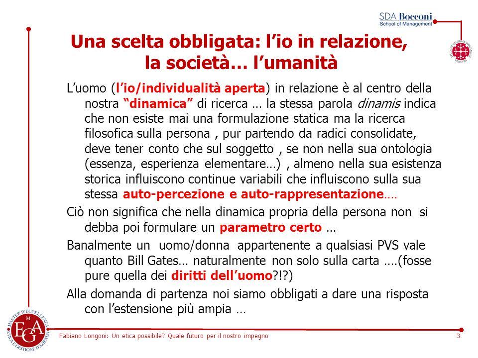 Fabiano Longoni: Un etica possibile? Quale futuro per il nostro impegno3 Una scelta obbligata: l'io in relazione, la società… l'umanità L'uomo (l'io/i