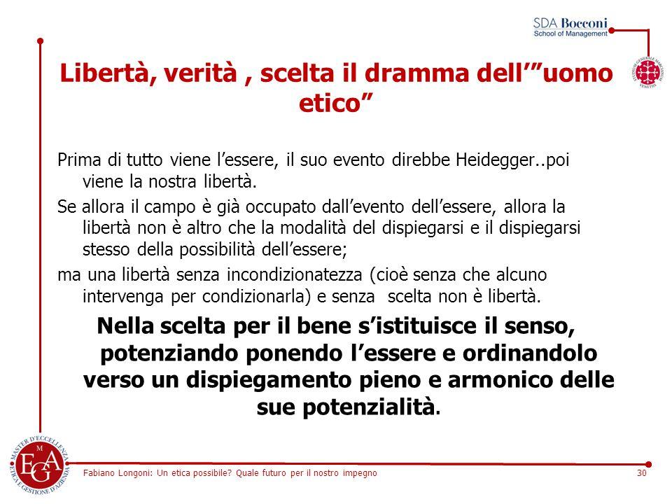 """Fabiano Longoni: Un etica possibile? Quale futuro per il nostro impegno30 Libertà, verità, scelta il dramma dell'""""uomo etico"""" Prima di tutto viene l'e"""