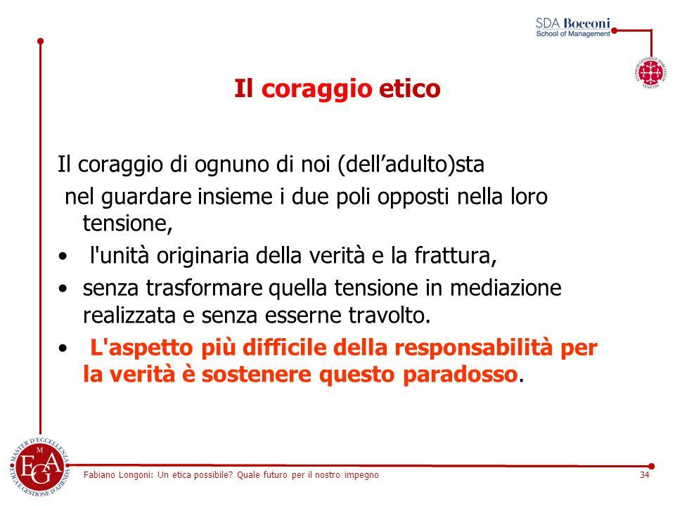 Fabiano Longoni: Un etica possibile? Quale futuro per il nostro impegno34 Il coraggio etico Il coraggio di ognuno di noi (dell'adulto)sta nel guardare