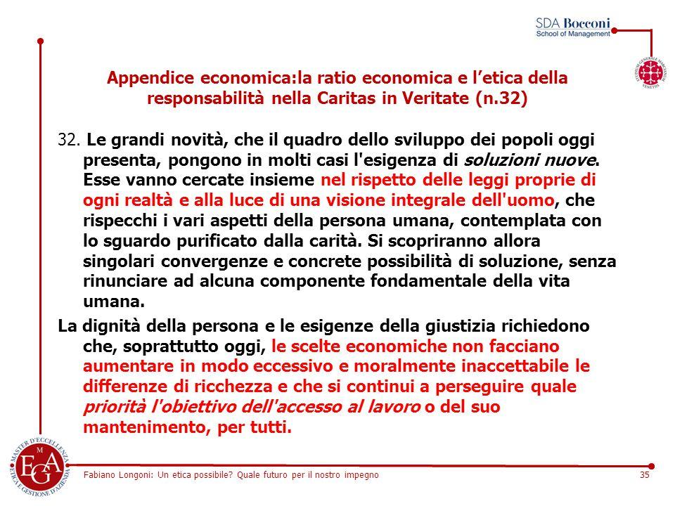 Fabiano Longoni: Un etica possibile? Quale futuro per il nostro impegno35 Appendice economica:la ratio economica e l'etica della responsabilità nella