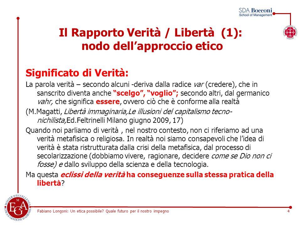 Fabiano Longoni: Un etica possibile? Quale futuro per il nostro impegno4 Il Rapporto Verità / Libertà (1): nodo dell'approccio etico Significato di Ve