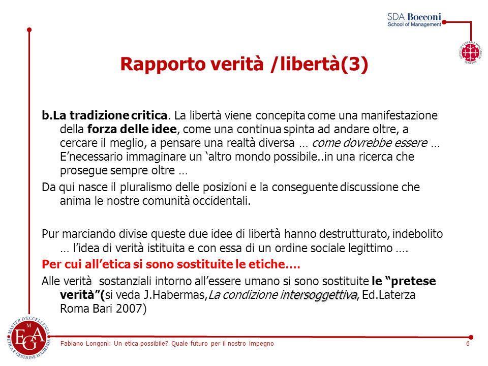 Fabiano Longoni: Un etica possibile? Quale futuro per il nostro impegno6 Rapporto verità /libertà(3) b.La tradizione critica. La libertà viene concepi