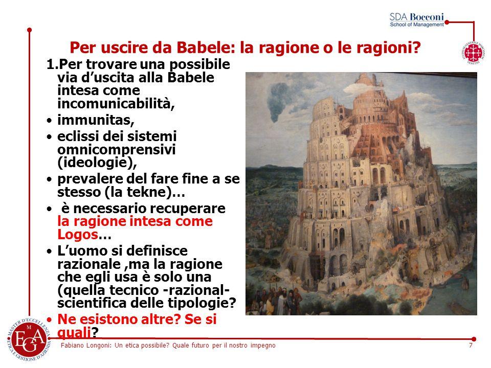 Fabiano Longoni: Un etica possibile? Quale futuro per il nostro impegno7 Per uscire da Babele: la ragione o le ragioni? 1.Per trovare una possibile vi