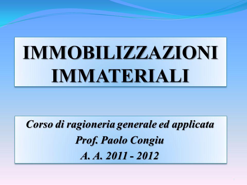 Corso di ragioneria generale ed applicata Prof. Paolo Congiu A. A. 2011 - 2012 Corso di ragioneria generale ed applicata Prof. Paolo Congiu A. A. 2011