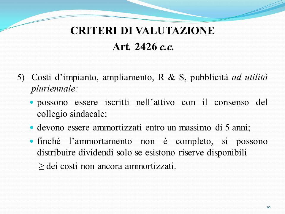 CRITERI DI VALUTAZIONE Art. 2426 c.c.