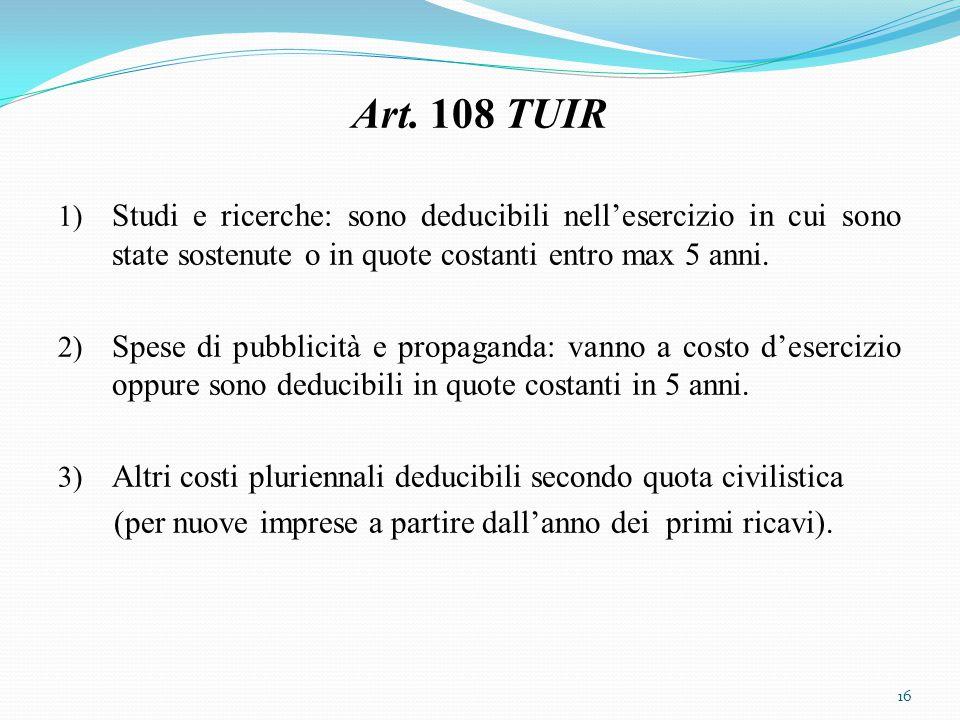 Art. 108 TUIR 1) Studi e ricerche: sono deducibili nell'esercizio in cui sono state sostenute o in quote costanti entro max 5 anni. 2) Spese di pubbli