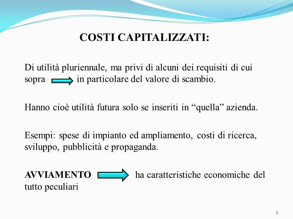 COSTI CAPITALIZZATI: Di utilità pluriennale, ma privi di alcuni dei requisiti di cui sopra in particolare del valore di scambio. Hanno cioè utilità fu