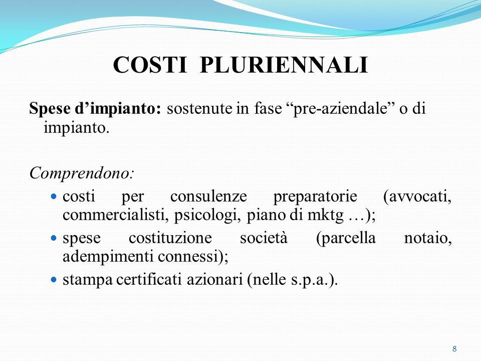 """COSTI PLURIENNALI Spese d'impianto: sostenute in fase """"pre-aziendale"""" o di impianto. Comprendono: costi per consulenze preparatorie (avvocati, commerc"""