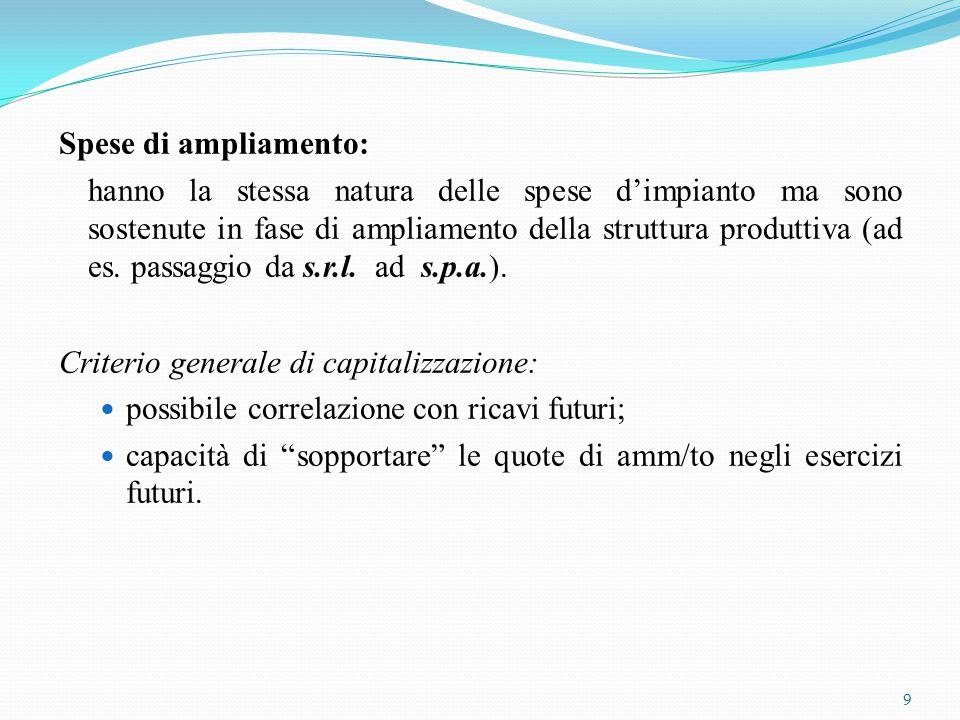 Spese di ampliamento: hanno la stessa natura delle spese d'impianto ma sono sostenute in fase di ampliamento della struttura produttiva (ad es. passag