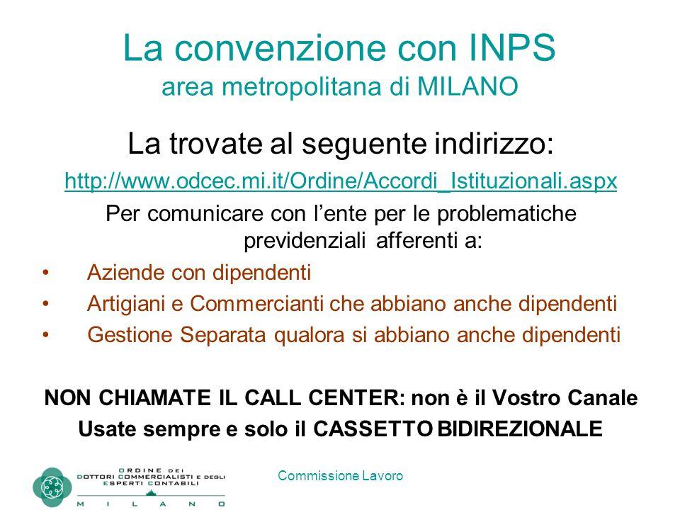 Commissione Lavoro La convenzione con INPS area metropolitana di MILANO L'INPS assicura che il CASSETTO BIDIREZIONALE è il canale più efficiente di comunicazione.