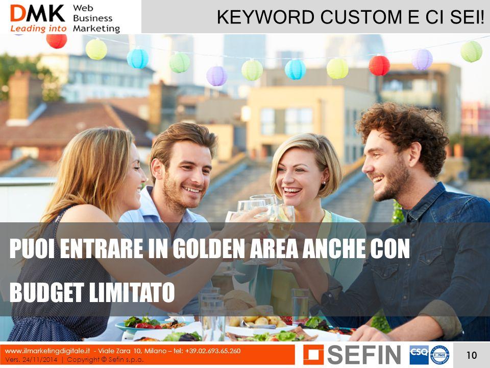 KEYWORD CUSTOM E CI SEI! Vers. 24/11/2014 | Copyright © Sefin s.p.a. www.ilmarketingdigitale.it - Viale Zara 10, Milano – tel: +39.02.693.65.260 PUOI