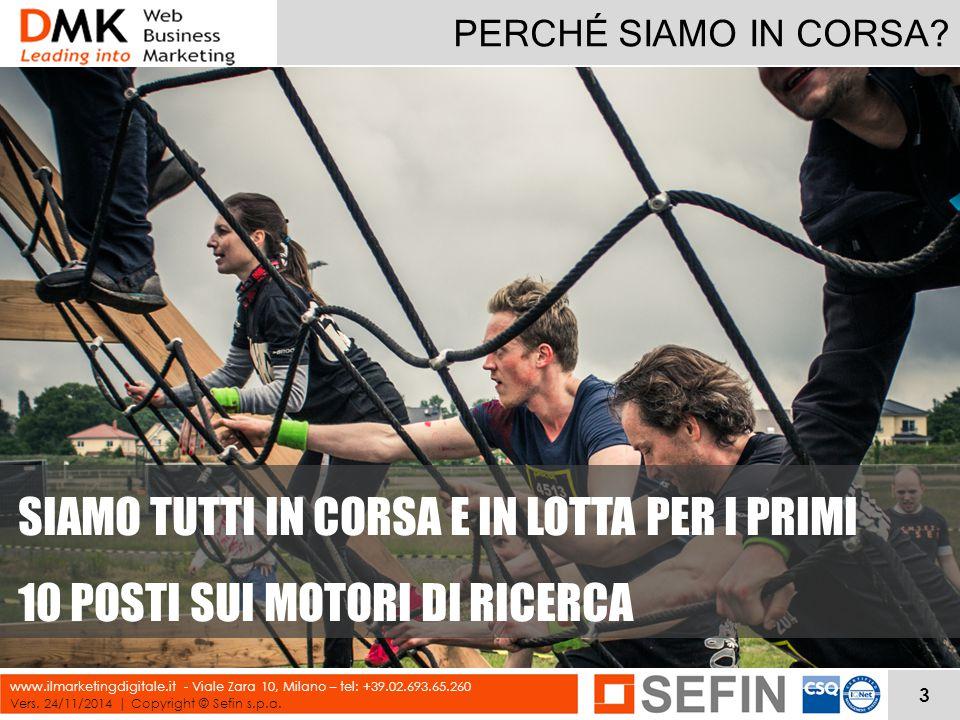 PERCHÉ SIAMO IN CORSA? Vers. 24/11/2014 | Copyright © Sefin s.p.a. www.ilmarketingdigitale.it - Viale Zara 10, Milano – tel: +39.02.693.65.260 SIAMO T