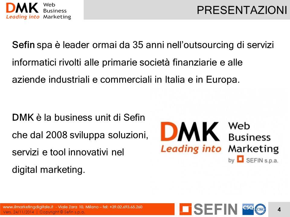 PRESENTAZIONI Vers. 24/11/2014 | Copyright © Sefin s.p.a. www.ilmarketingdigitale.it - Viale Zara 10, Milano – tel: +39.02.693.65.260 Sefin spa è lead